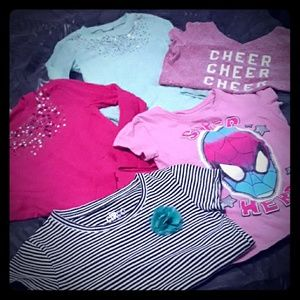 5 Girls Shirts Lot size Small 5-6 Justice Cheer